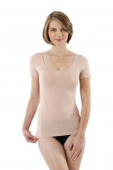 Women's invisible MicroModal undershirt short sleeves beige