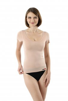 Women's invisible MicroModal short sleeves undershirt nude / skin color