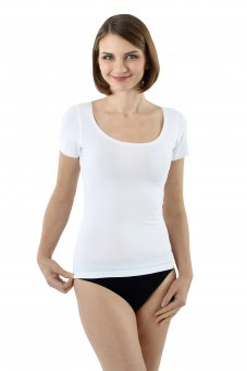 Women's short sleeve undershirt with deep scoop neck stretch cotton white XS
