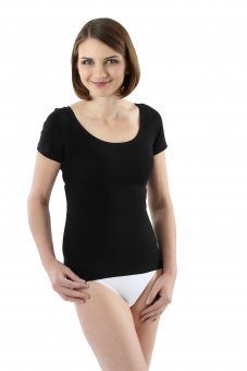 Women's short sleeve undershirt with deep scoop neck stretch cotton black