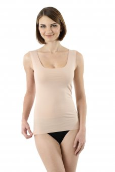 Laser cut invisible seamless tank top undershirt stretch cotton nude