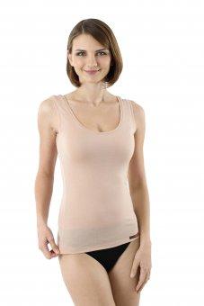 Women's invisible Merino wool tank top undershirt with deep scoop neck nude