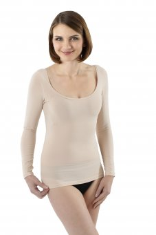 Invisible women's long sleeve undershirt with deep scoop neck stretch cotton nude