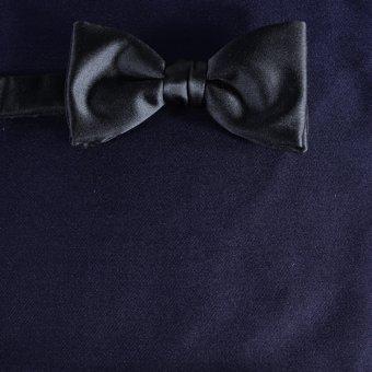 bow tie navy blue - unicolour, design 210039