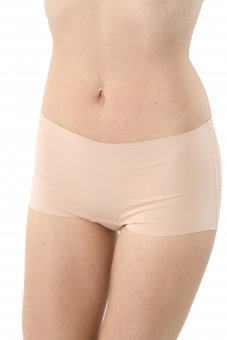 3-Pack Laser cut invisible seamless boyshort panty stretch cotton nude