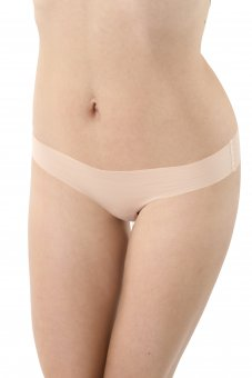 3-Pack Laser cut invisible seamless thongs stretch cotton nude