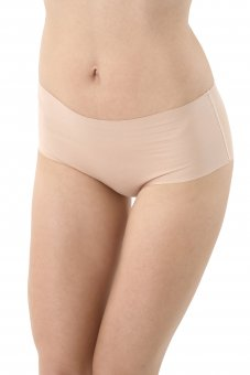 3-Pack Laser cut invisible seamless mid-rise panty briefs stretch cotton beige