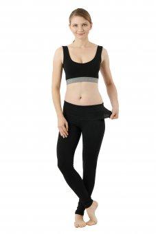 Women's yoga leggings organic stretch cotton black