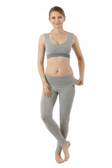 Women's yoga leggings organic stretch cotton gray