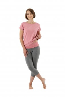 Women's pajamas with short sleeves and 3/4 pants stretch cotton, pink-gray