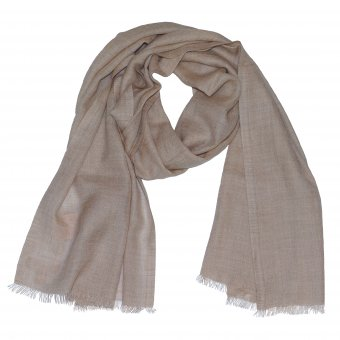 Organic Cashmere scarf for women and men beige, 200 x 65 cm (78 x 25 inch)
