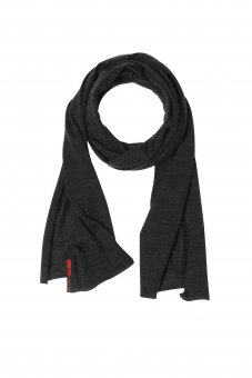 Merino wool-silk scarf for women and men uni anthracite gray 40 x 200 cm (15 x 78 inch)