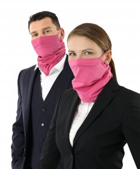 Neck gaiter face cover organic stretch cotton ear loops pink