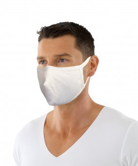 Mouth and nose mask, boil-proof, made of two-ply cotton, white