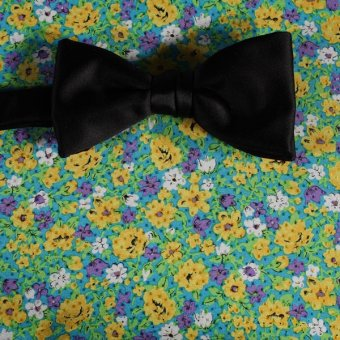 bow tie yellow, green, blue - flowers, design 200040