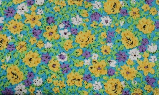 cummerbund yellow, green, blue - flowers, design 200040