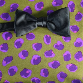 bow tie green, violet - flowers, design 200041