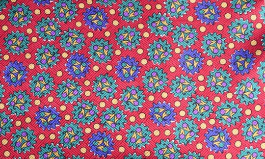 silk scarf red, yellow, green, blue - patterned, design 200047