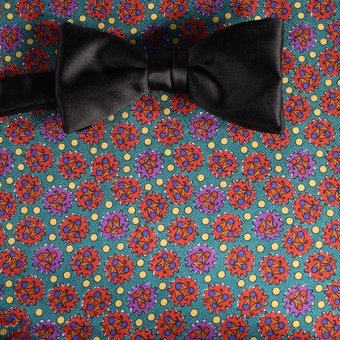 bow tie red, yellow, green, violet - patterned, design 200048