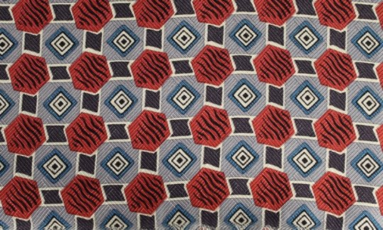 cummerbund terracotta, blue, white - patterned, design 200054
