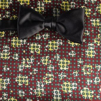 bow tie yellow, green, red wine - flowers, design 200056