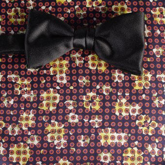 bow tie red, yellow, navy blue - flowers, design 200057