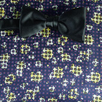 bow tie red, yellow, navy-blue - flowers, design 200058