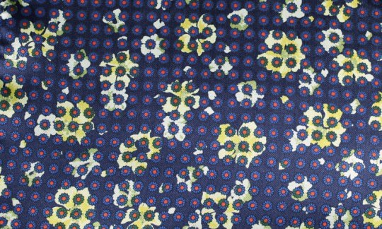 Pocket square red, yellow, navy-blue - flowers, design 200058