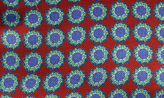 plastron red, blue - flowers, design 200059