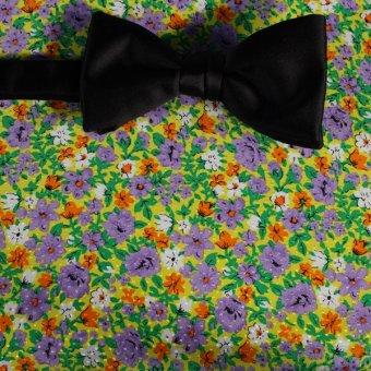 bow tie yellow, green, white, orange, violet, grey - flowers, design 200063