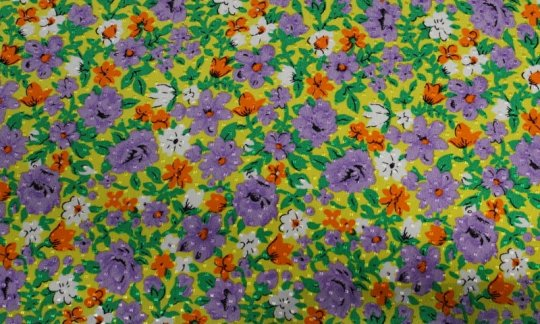 plastron yellow, green, white, orange, violet, grey - flowers, design 200063