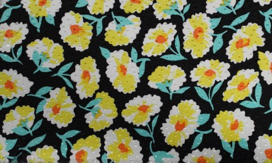 plastron blackt, yellow, green, white - flowers, design 200066