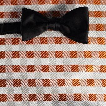 bow tie silver, white, orange, terracotta - squares, design 200077