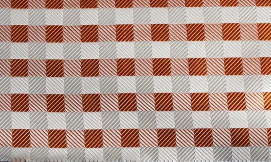 plastron silver, white, orange, terracotta - squares, design 200077