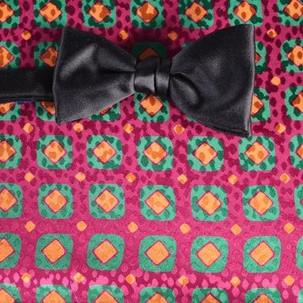 bow tie red, green, gold, orange, ruby-colored - squares, design 200082