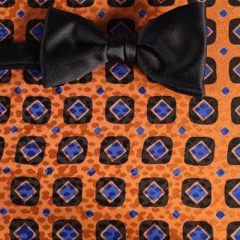 Bow tie blue, black, orange - squares, design 200083