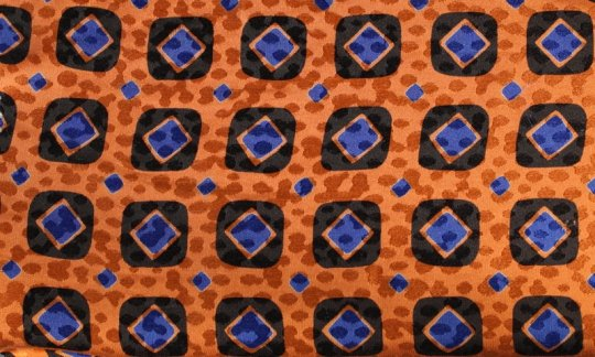 silk scarf blue, black, orange - squares, design 200083