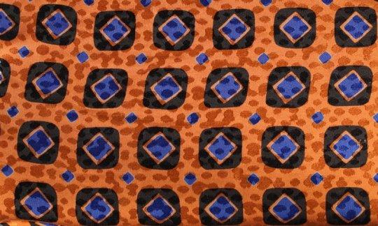 Pocket square blue, black, orange - squares, design 200083