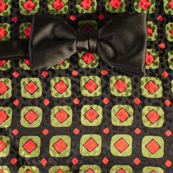 bow tie red, green, black - squares, design 200090