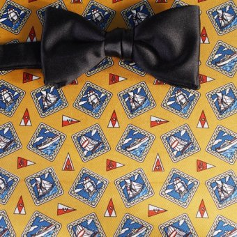 bow tie red, yellow, gold, blue - squares, design 200111