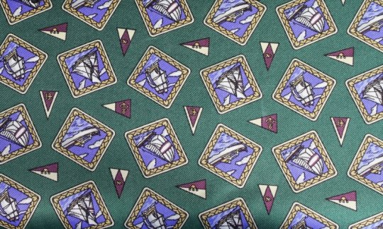 silk scarf green, blue, violet - motives, design 200112