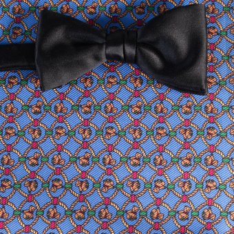 bow tie yellow, blue - patterned, design 200134