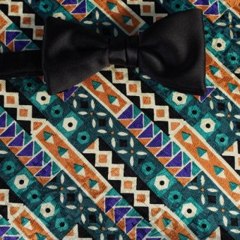 bow tie green, blue, brown, cream - patterned, design 200136