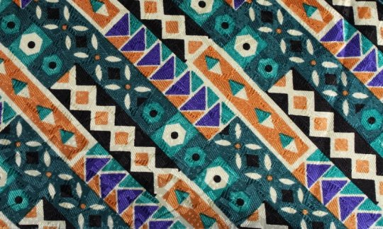 handkerchief green, blue, brown, cream - patterned, design 200136