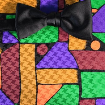 bow tie yellow, green, gold, brown, violet - patterned, design 200137