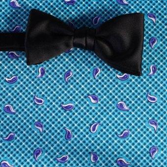 bow tie blue, white, turquoise - paisley, design 200140