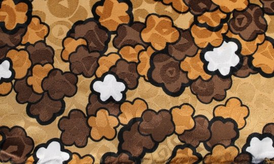 Pocket square gold, white, brown, orange - flowers, design 200149