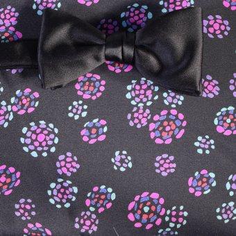 bow tie black, violet - flowers, design 200152