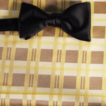 bow tie yellow, brown, cream - squares, design 200174