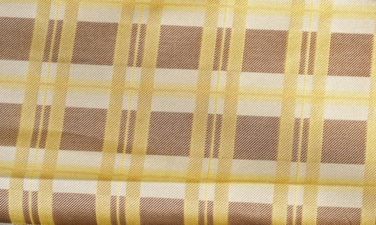 plastron yellow, brown, cream - squares, design 200174